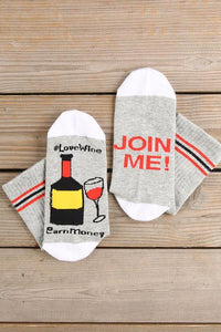 Love Wine Join Me Sock