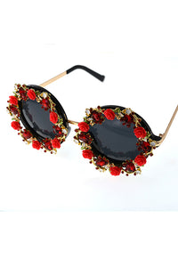 Flower Rhinestone Sunglasses