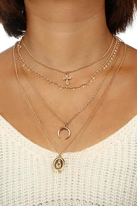 Cross Moon Layers Necklace