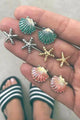Starfish Shell Earrings Set