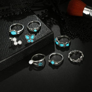 Butterfly Pearl Ring Set