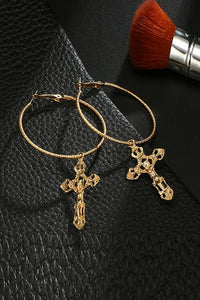 Cross Round Earrings