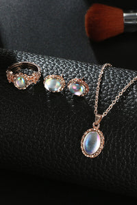 Opal Necklace Ring Earring Set