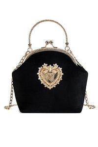 Velvet Pearl Heart Evening Bag