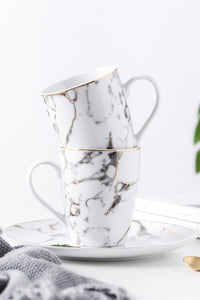 Gold Edge Marble Ceramics Mug