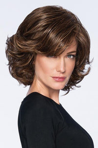 Synthetic Curly Bangs Brown Wig