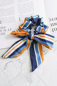 Stripe Bow Scarf Scrunchie