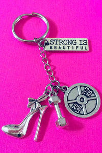 Strong Is Beautiful Dumbbell Key Chain