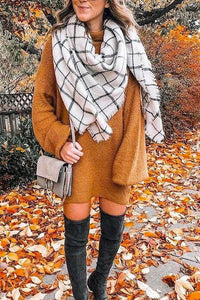 Tassels Plaid Scarf