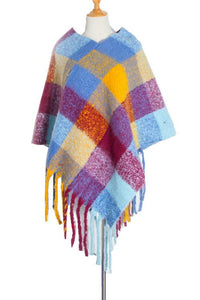 Color Block Tassels Olaid Poncho