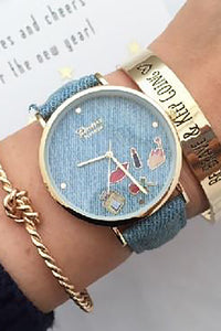 Lips Lipstick Denim Watch