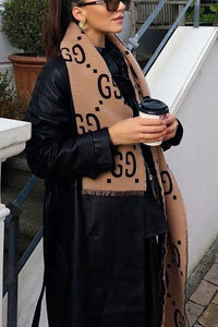 Ripped Letter Print Scarf