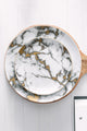 Gold Edge Marble Ceramics Plate