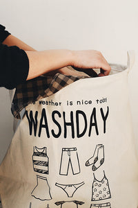 Wash Day Linen Laundry Bag