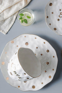 Gold Dot Ceramics Plate Bowl
