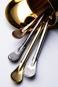 Stainless Steel Strainer Straw Spoon