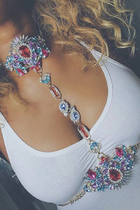 Flower Rhinstone Body Chain