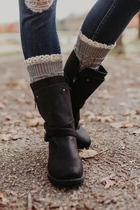 Lace Trim Knitted Boot Cuffs