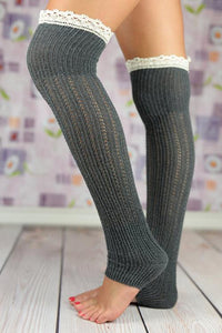 Open Toe Lace Hem Boot Socks
