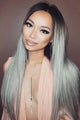 Long Straight Hair Black To Grey Ombre Wig