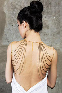 Gold Tassels Layered Body Chains