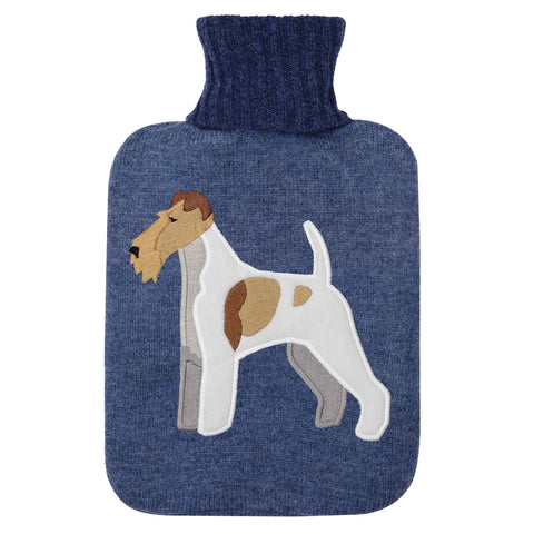 Fox Terrier Knitted Hot Water Bottle