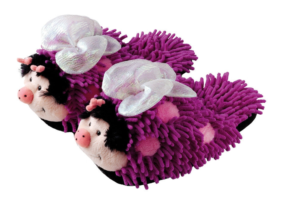 Purple Butterfly Fuzzy Friends Slippers