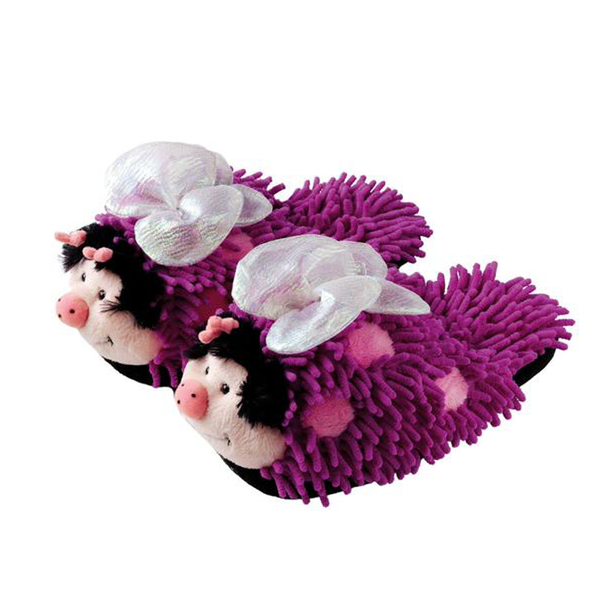 Purple Butter fly Fuzzy Friends Slippers - SMALL