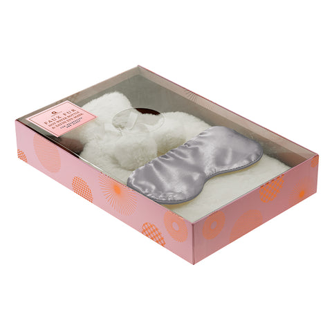Faux Fur Range Hot Water Bottle and Eye Mask Set Cream