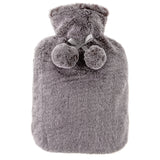 Faux Fur Range Hot Water Bottle and Eye Mask Set Grey