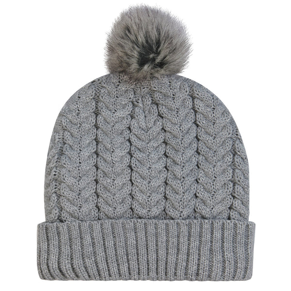 Grey Knitted Heated Wooly Hat