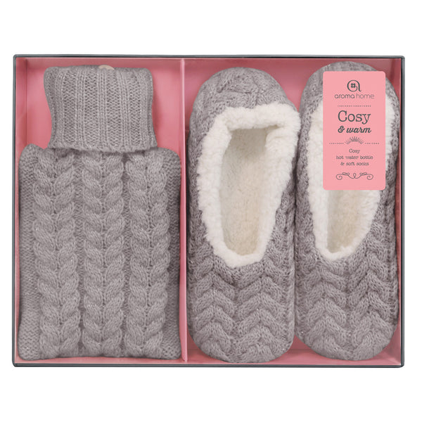 Knitted Grey Mini Hot Water Bottle and Slippers Gift Set