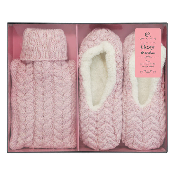 Knitted Pink Mini Hot Water Bottle and Slippers Gift Set