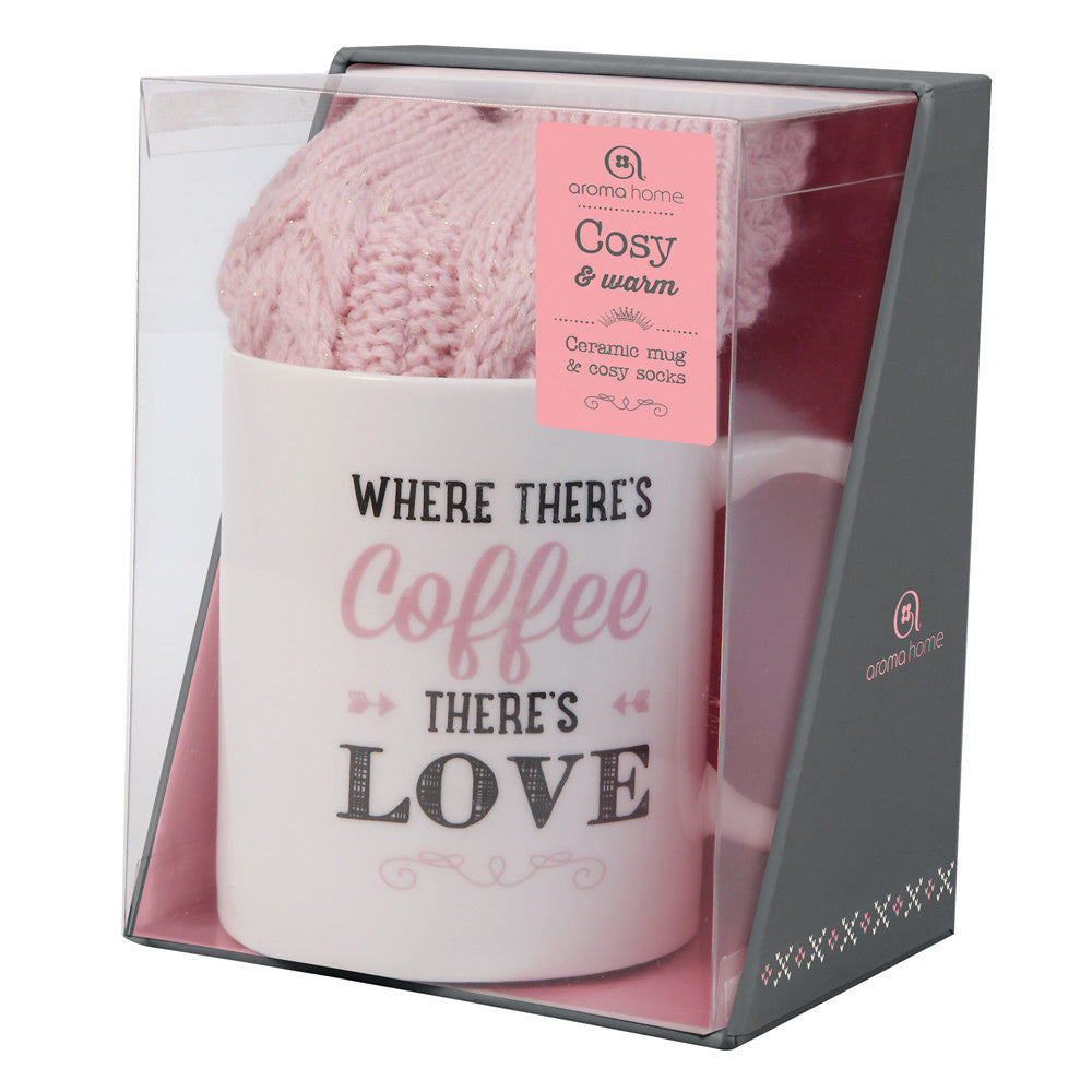 Knitted Pink Socks and Ceramic Mug Gift Set