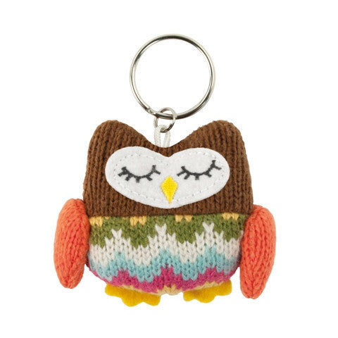 Knitted Owl Key Ring