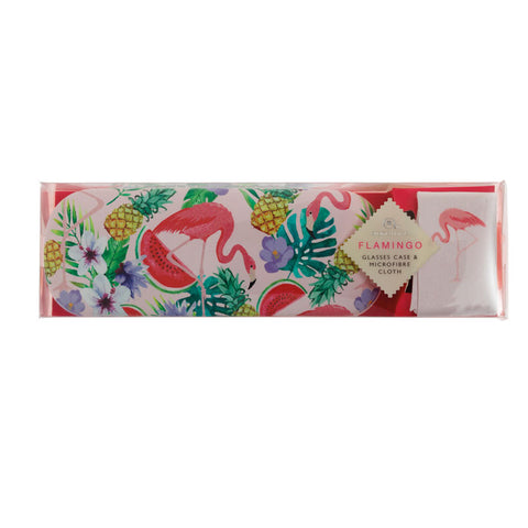 Flamingo Glasses Case with Microfibre Cloth