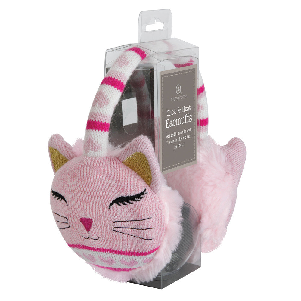 Pink Cat Heated Knitted Ear Muffs