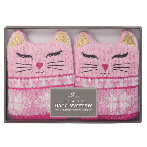 Pink Cat Heated Knitted Hand Warmers