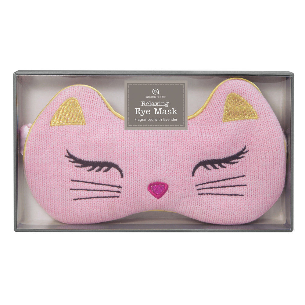 Pink Cat Knitted Eye Mask