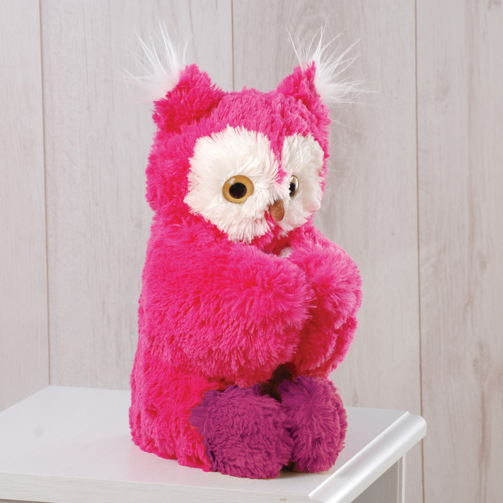 Sitting Pink Owl Pillow Friends