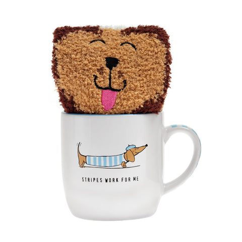 Stripey Sausage Dog Mug & Socks Set