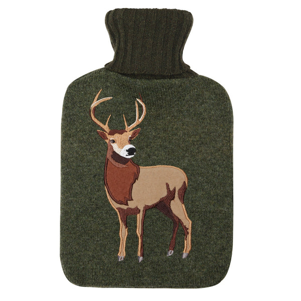 Highland Stag Knitted Hot Water Bottle