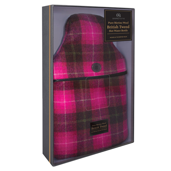 Luxury Pink Plaid Tweed Merino Wool Hot Water Bottle