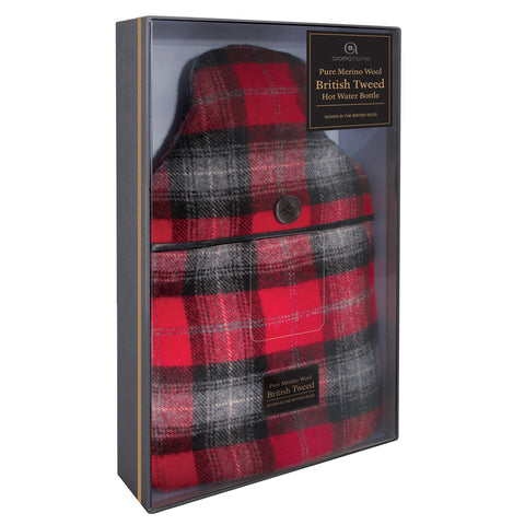 Luxury Red Plaid Tweed Merino Wool Hot Water Bottle