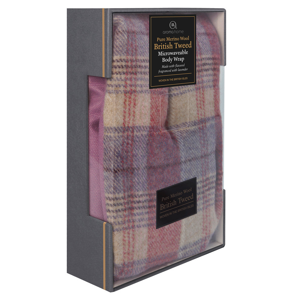 Luxury Heather Plaid Tweed Merino Wool Microwave Body Wrap