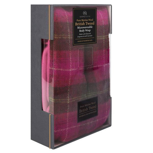 Luxury Pink Plaid Tweed Merino Wool Microwave Body Wrap