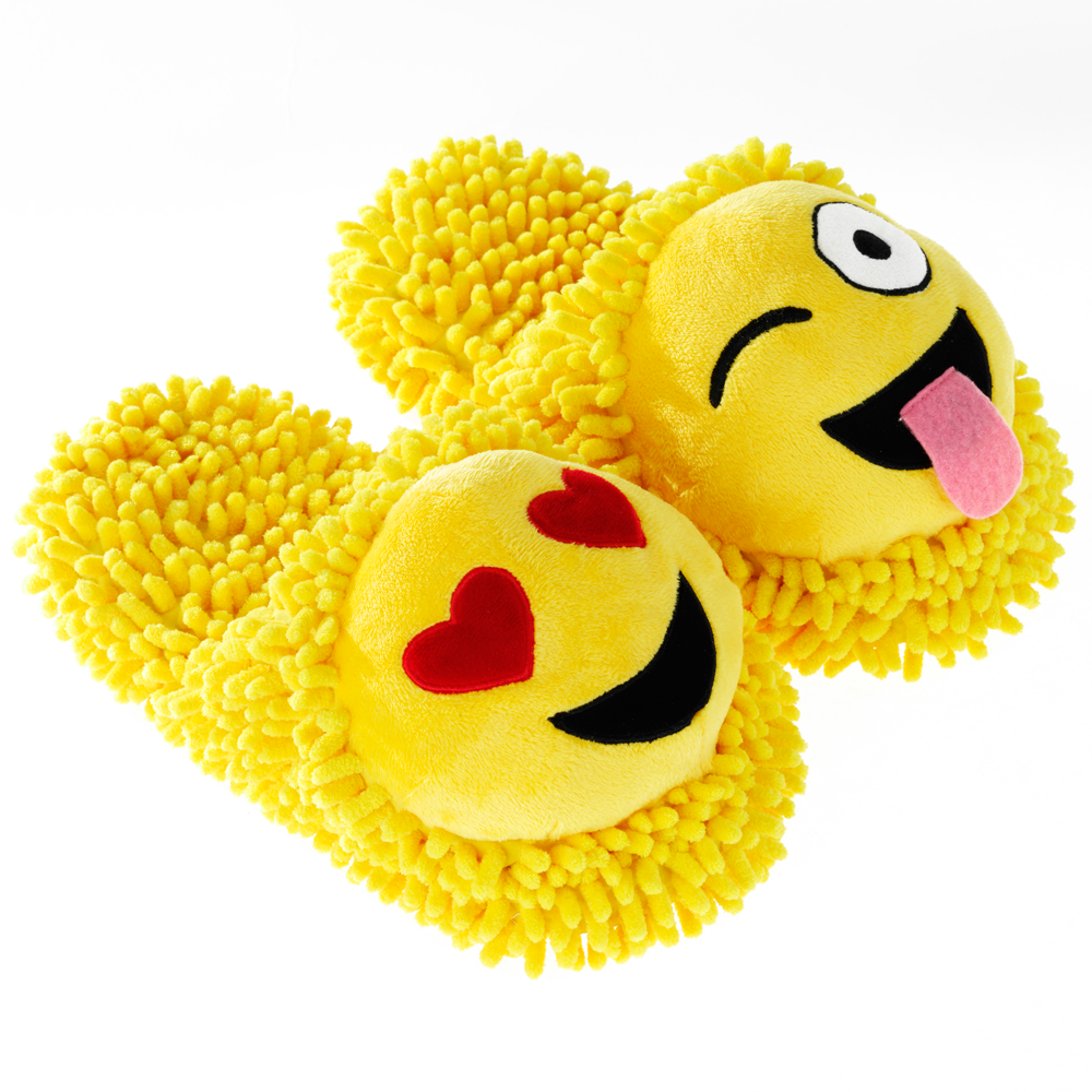 Wink and Smiley Emoji Fuzzy Friends Slippers
