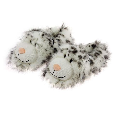 Snow Leopard Fuzzy Friends Slippers