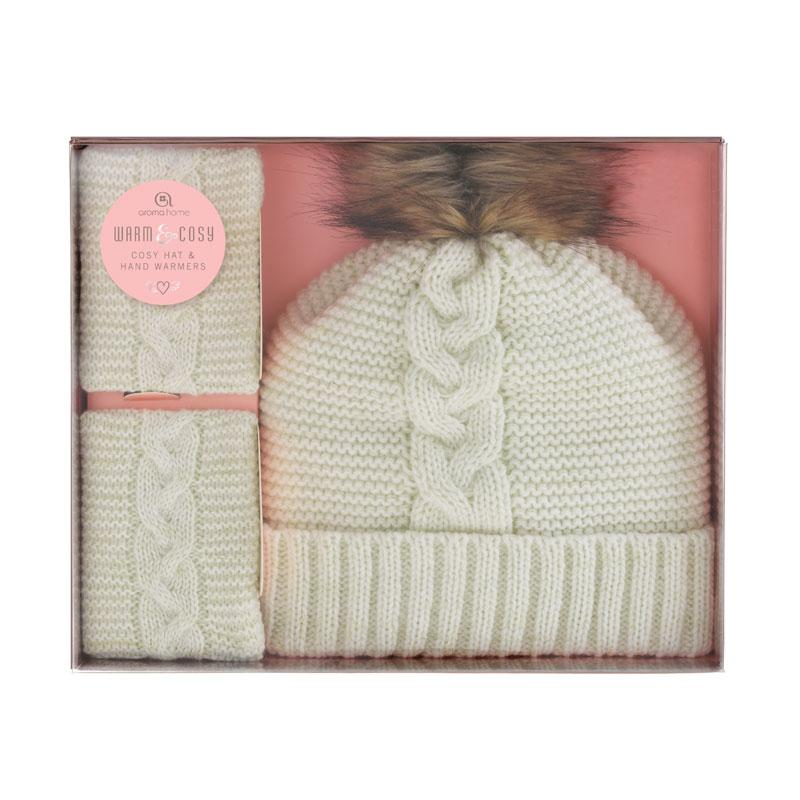 Knitted Pom Pom Hat with Hand warmers- Cream
