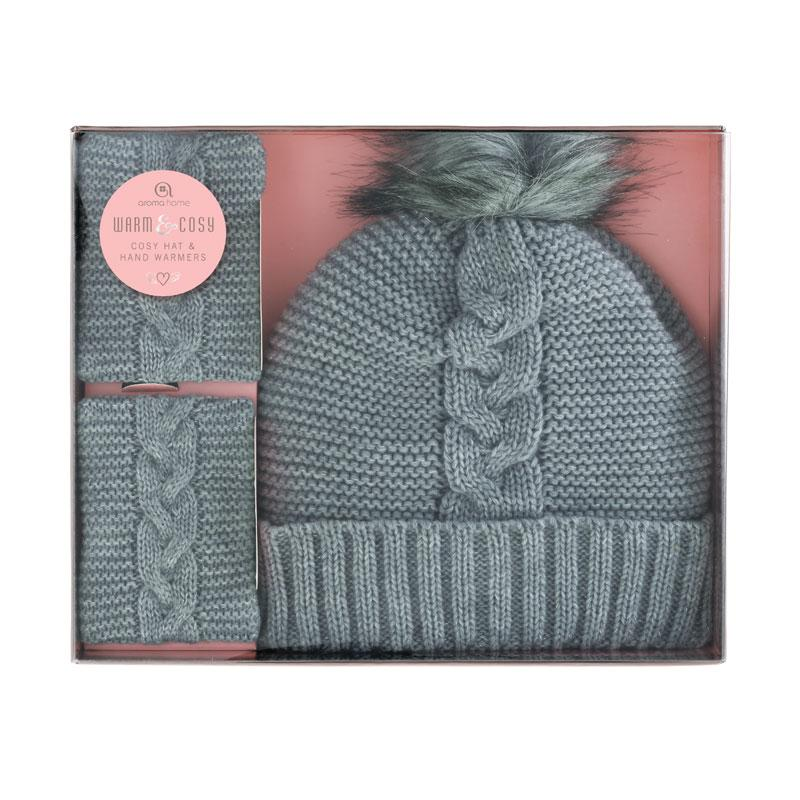 Knitted Pom Pom Hat with Hand warmers - Grey